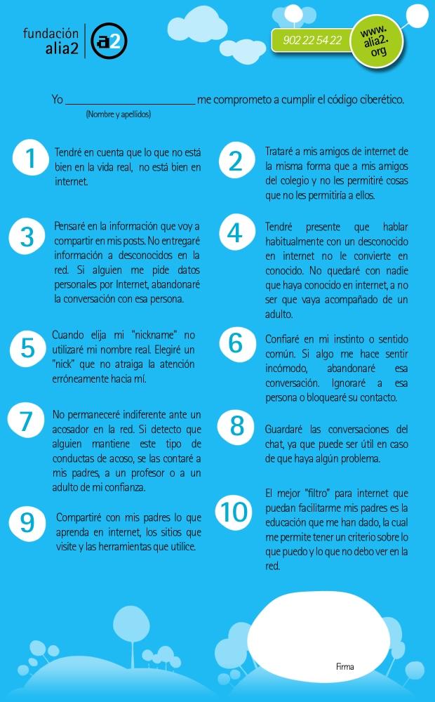 Código Ciberético para niños y Decálogo con consejos de seguridad web para los padres (1/3)