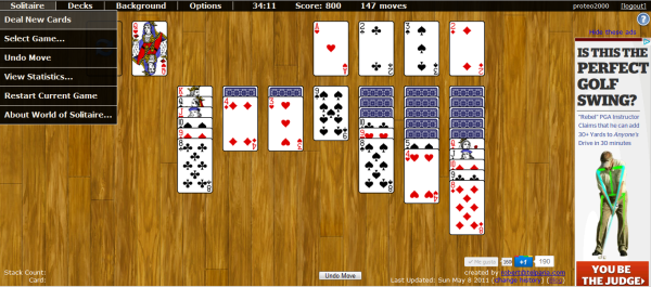 Interfaz de World of Solitaire