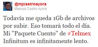 """Todavía me queda 1Gb de archivos por subir. Eso tomará todo el día. Mi """"Paquete Cuento"""" de #Telmex Infinitum es infinitamente lento."""